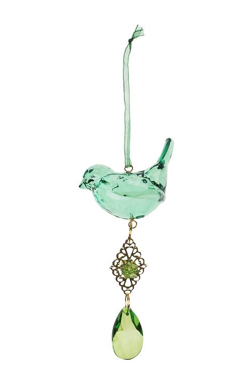 Украшение декоративное ПтичкаСувениры и упаковка<br>Выс=19см, акрил, зеленое, подвесное<br>