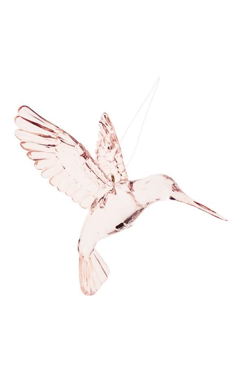 Украшение декоративное КолибриСувениры и упаковка<br>Выс=9см, акрил, св.-розовое, подвесное<br>