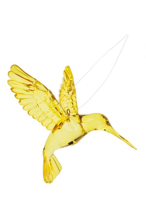 Украшение декоративное КолибриСувениры и упаковка<br>Выс=9см, акрил, золот., подвесное<br>