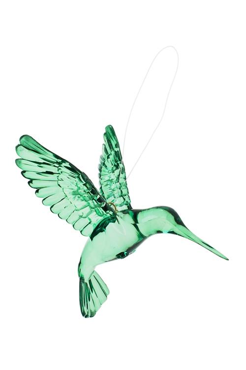 Украшение декоративное КолибриСувениры и упаковка<br>Выс=9см, акрил, темно-зеленое, подвесное<br>