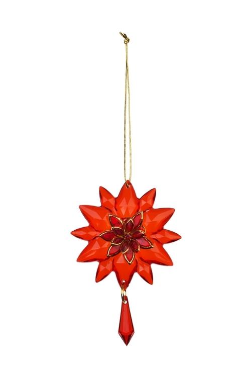 Украшение декоративное Прекрасный цветокДекоративные гирлянды и подвески<br>Выс=7см, акрил, красное, подвесное<br>