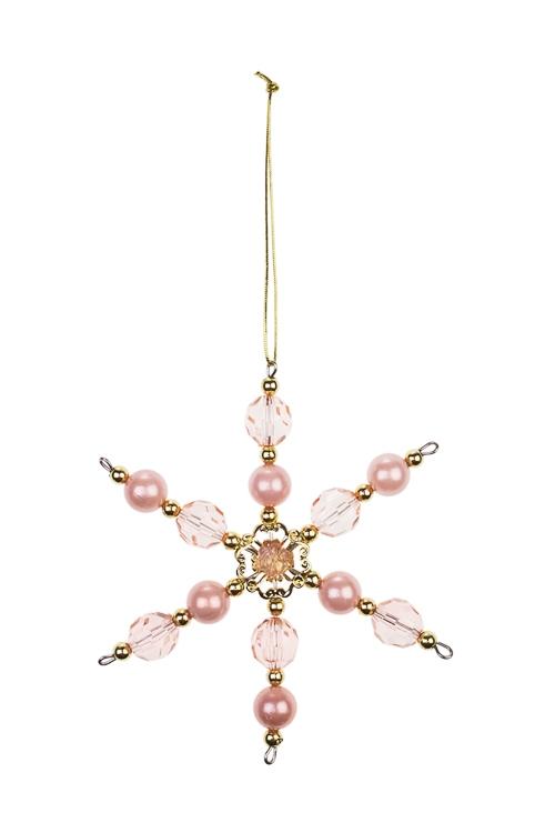 Украшение декоративное СнежинкаДекоративные гирлянды и подвески<br>Выс=13см, акрил, св.-розовое, подвесное<br>