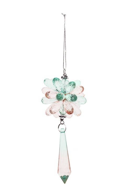 Украшение декоративное Сияние из кристалловСувениры и упаковка<br>Выс=24см, акрил, мятно-розовое, подвесное<br>