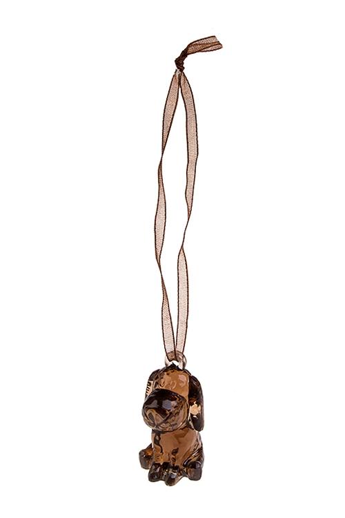 Украшение декоративное Песик-счастливый носикСувениры и упаковка<br>Выс=3.5см, акрил, шоколадное, подвесное<br>