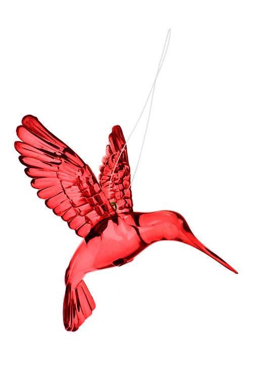 Украшение декоративное КолибриСувениры и упаковка<br>Выс=9см, акрил, красное, подвесное<br>