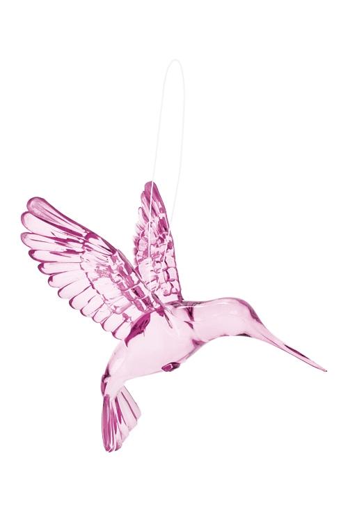 Украшение декоративное КолибриСувениры и упаковка<br>Выс=9см, акрил, розовое, подвесное<br>