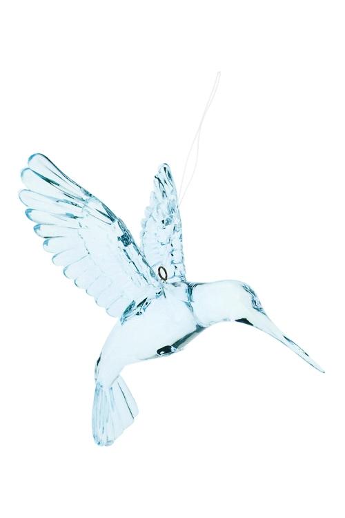 Украшение декоративное КолибриДекоративные гирлянды и подвески<br>Выс=9см, акрил, голубое, подвесное<br>