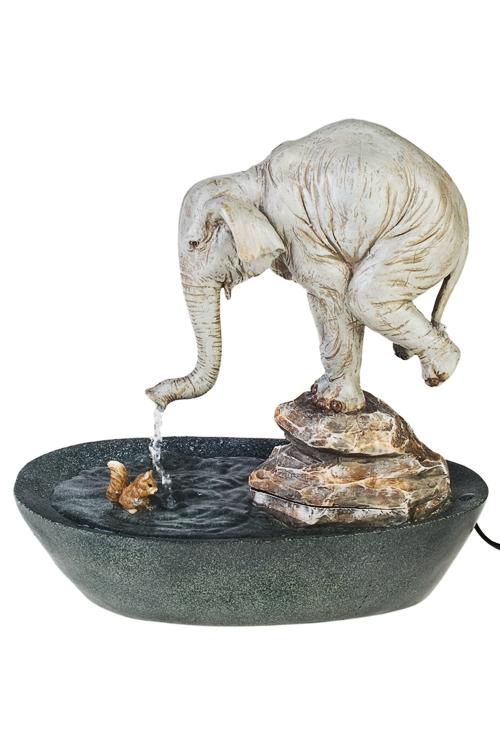 Фонтан декоративный электрический Слон и белочкаИнтерьер<br>32*20*13см, полирезин<br>