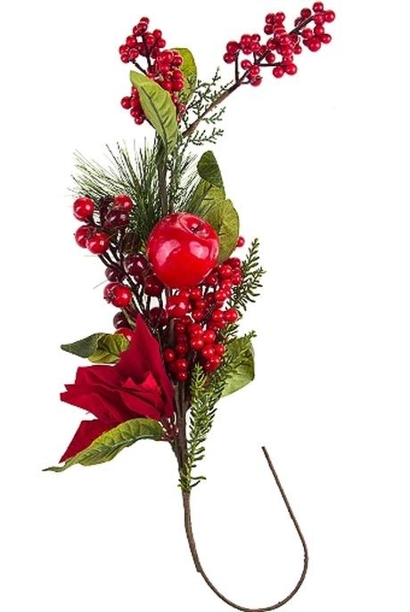 Украшение для интерьера Цветок с ягодамиИнтерьер<br>Дл=31см пенопласт полиэстер пластм.<br>