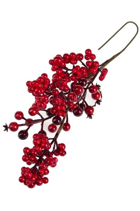 Украшение для интерьера Красные ягодкиДекоративные гирлянды и подвески<br>Дл=49см, пенопласт, пластм.<br>
