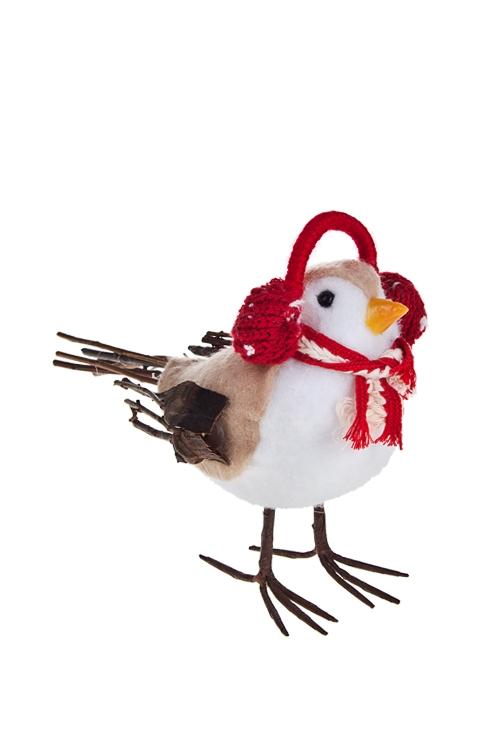 Украшение для интерьера Птичка в шапочкеПодарки<br>Выс=16см, пенопласт, текстиль, бело-красное (3 вида)<br>
