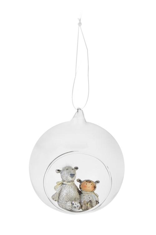 Украшение для интерьера Мишка с малышкойЕлочные шары<br>Выс=10см, полирезин, стекло, белое, подвесное<br>