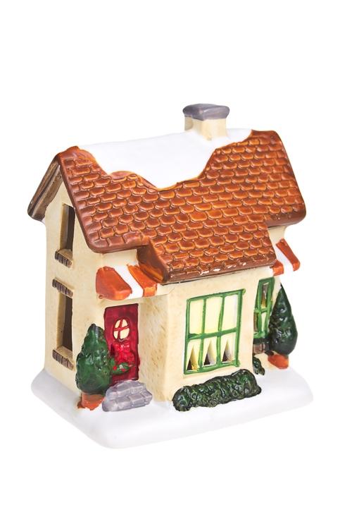 Украшение для интерьера светящееся Праздничный домикСувениры и упаковка<br>10*10см, полирезин, на батар. (4 вида)<br>
