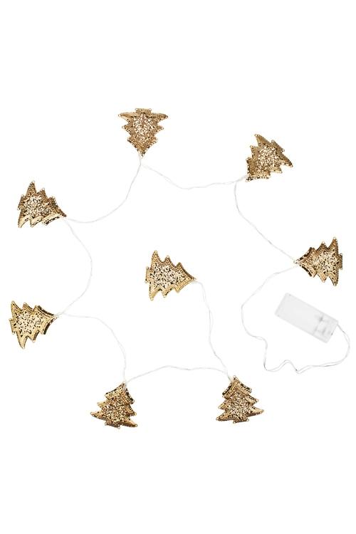 Гирлянда декоративная светящаяся ЕлочкиДекоративные гирлянды и подвески<br>Дл=130см, металл, золот., на батар.<br>