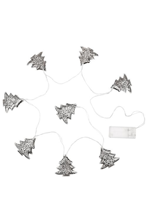Гирлянда декоративная светящаяся ЕлочкиСувениры и упаковка<br>Дл=130см, металл, серебр., на батар.<br>