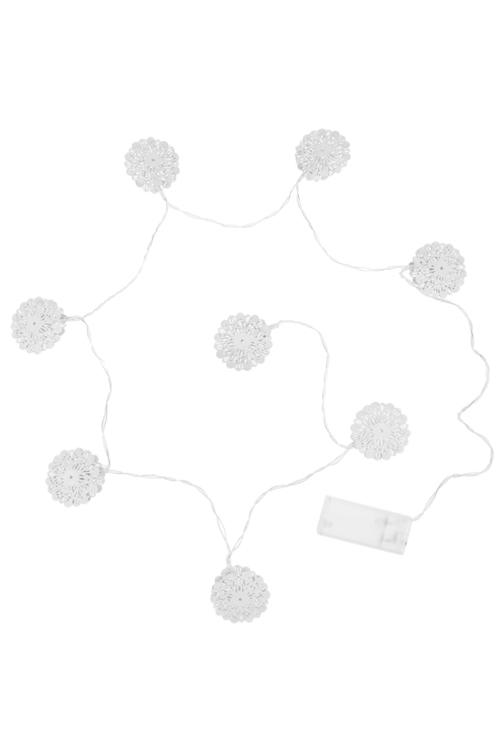 Гирлянда декоративная светящаяся СнежинкиДекоративные гирлянды и подвески<br>Дл=125см, металл, белая, на батар.<br>