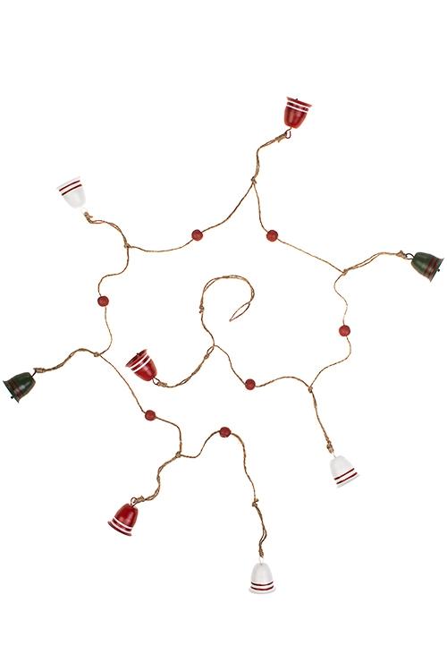 Гирлянда декоративная КолокольчикиСувениры и упаковка<br>Дл=130см, металл, красно-зелено-белая<br>
