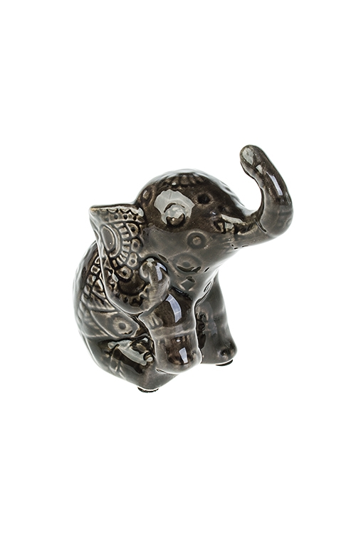 Фигурка Играющий слоникКерамические статуэтки<br>11*6.5*11.5см, керам., темно-коричн.<br>