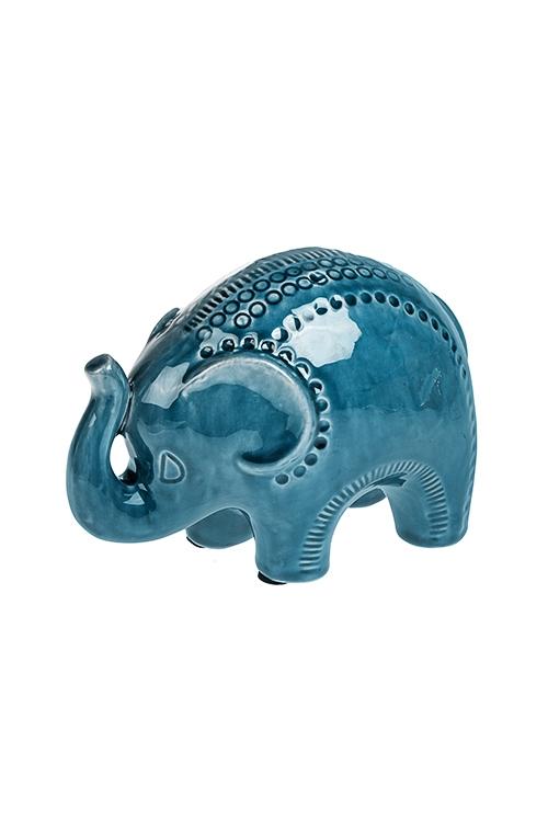 Фигурка СлонФигурки<br>19.5*10*13.5см, керам., синяя<br>