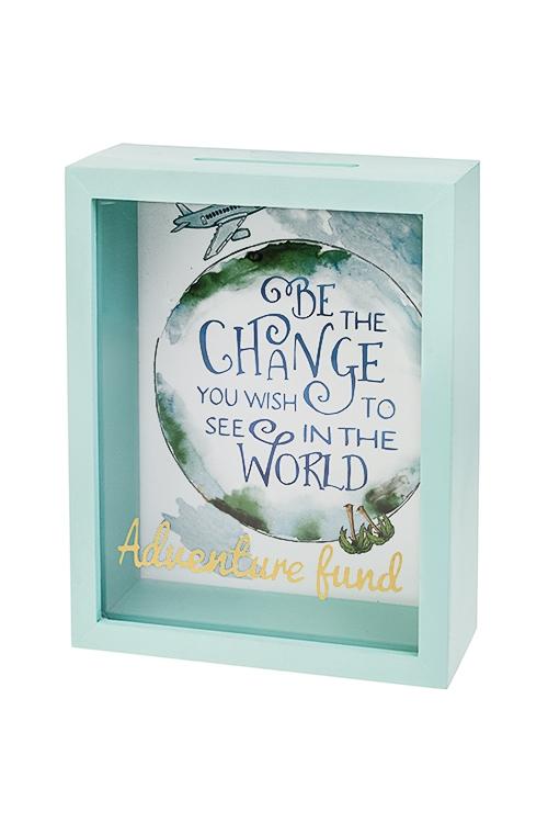 Копилка Начни менять мир с себяСувениры и упаковка<br>17.5*7.5*22.5см, МДФ, стекло, бело-голубая<br>