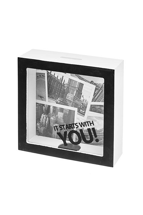 Копилка Все начинается с тебяСувениры и упаковка<br>15*5*15см, МДФ, стекло<br>
