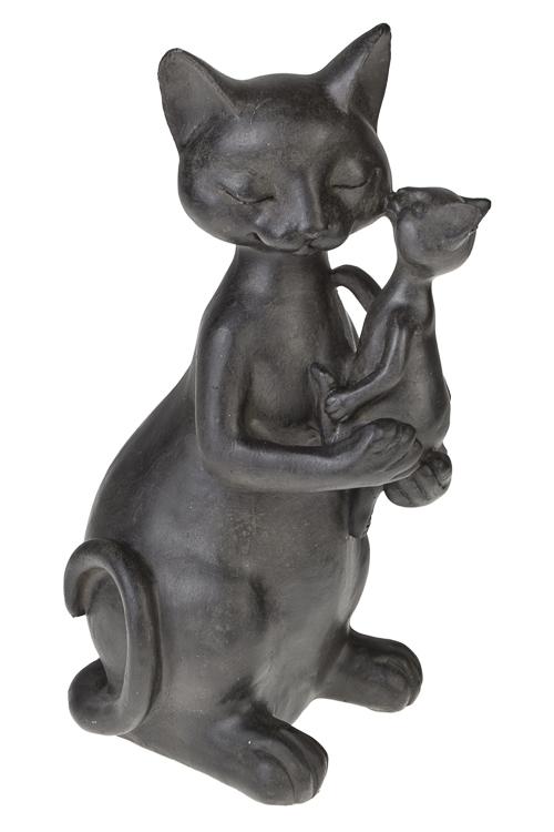 Фигурка Важная киса с котенкомПодарки ко дню рождения<br>Выс=27см, полирезин, черная<br>