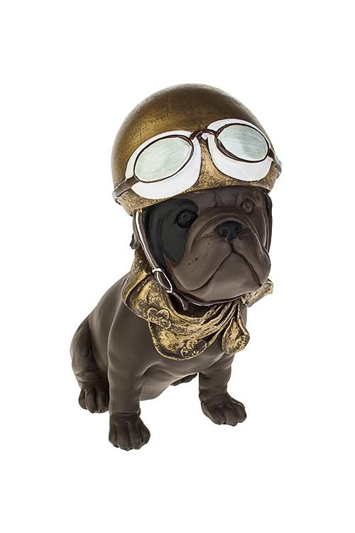 Фигурка Мопс в шлемеСтатуэтки<br>17*10*20см, полирезин, темно-коричн.-золот.<br>