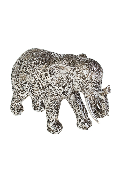 Фигурка Слон в узорахИнтерьер<br>22*8*14см, полирезин, серебр.<br>