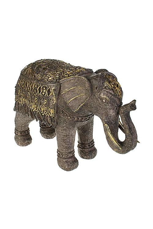 Фигурка Индийский слонИнтерьер<br>27*11*18см, полирезин, коричн.-золотая<br>