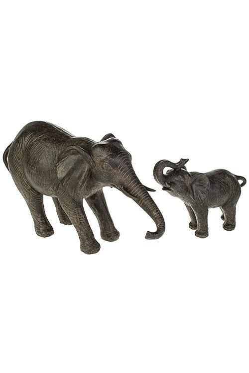 Фигурка Слоненок с мамойИнтерьер<br>50*10*18см, полирезин, темно-коричн.<br>