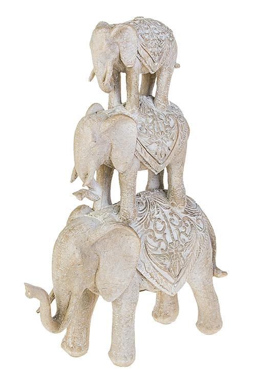 Фигурка Цирковые слоникиИнтерьер<br>26*10*36см, полирезин, серо-бежевая<br>