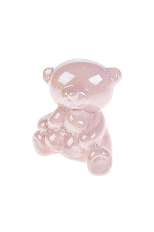 Копилка Мишка с цветкомСувениры и упаковка<br>8*6*8см, полирезин, жемчужно-розовая<br>