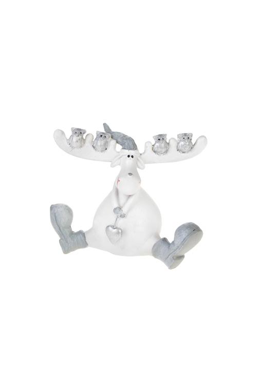 Фигурка Добрый лосикСувениры и упаковка<br>10.5*8.5см, полирезин, бело-серо-серебр. (2 вида)<br>