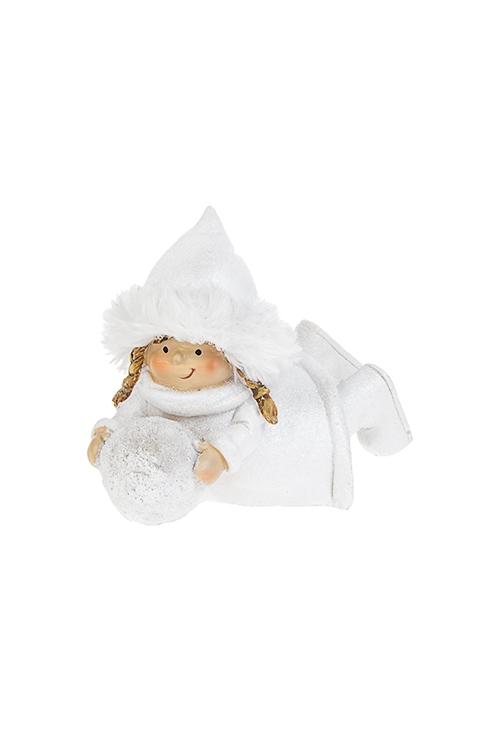 Фигурка Счастливая малышкаСувениры и упаковка<br>11*7*8см, полирезин, текстиль, белая (2 вида)<br>