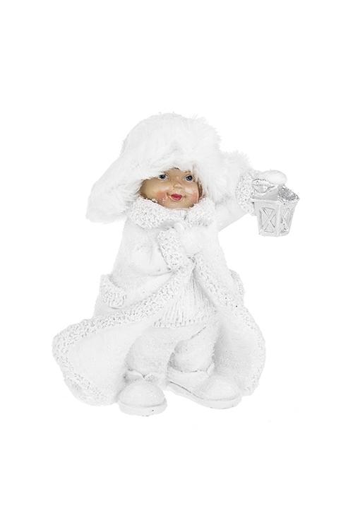 Фигурка Малышка в шубке и шапочкеСувениры и упаковка<br>Выс=14см, полирезин, текстиль, белая (2 вида)<br>