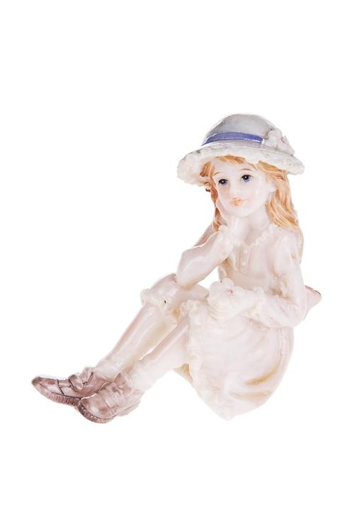 Фигурка Милая девочка с цветочкомСтатуэтки<br>Фигурка Милая девочка с цветочком, 8*8см, полирезин, крем.<br>