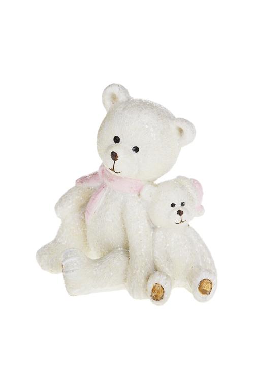 Фигурка Счастливый медвежонокНовогодние украшения и статуэтки<br>Выс=7.5см, полирезин, крем.-розовая (2 вида)<br>