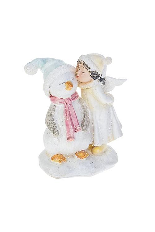 Фигурка Ангелок с пингвиномСувениры и упаковка<br>6*4*8см, полирезин, крем.-голубая<br>