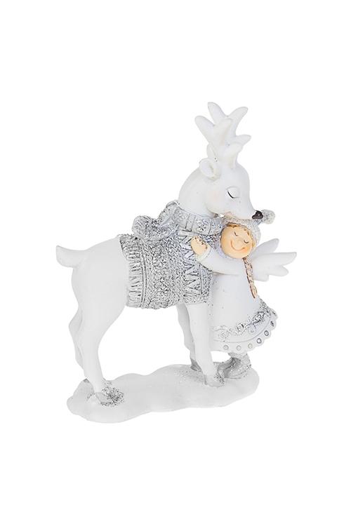 Фигурка Ангелок с оленемСувениры и упаковка<br>9.5*4*12см, полирезин, бело-серебр.<br>