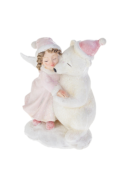 Фигурка Ангелок с полярным мишкойСувениры и упаковка<br>9*6*13см, полирезин, бело-розовая<br>