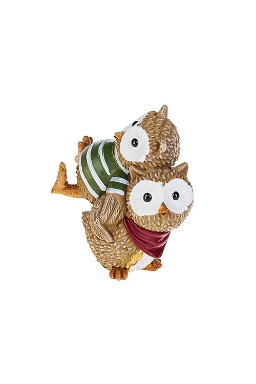 Фигурка Озорные совятаСувениры и упаковка<br>Выс=10см, полирезин, коричн.-красно-зеленая<br>