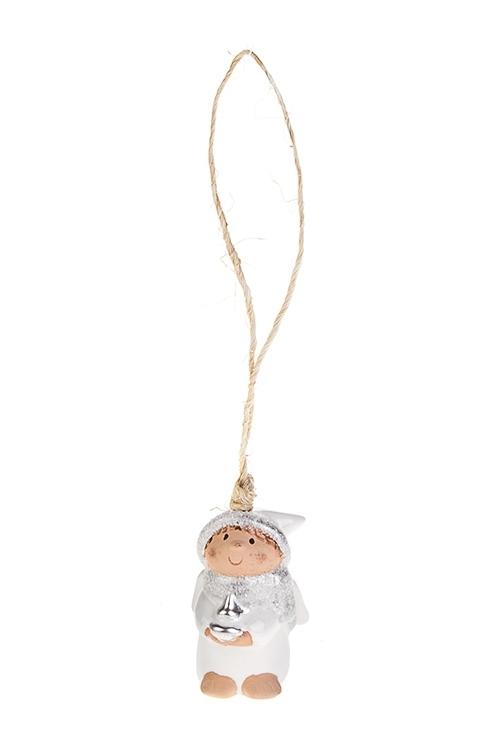 Сувенир Колокольчик-ангелочекЕлочные игрушки<br>Выс=6см керам. бело-серебр. подвесной (4 вида)<br>