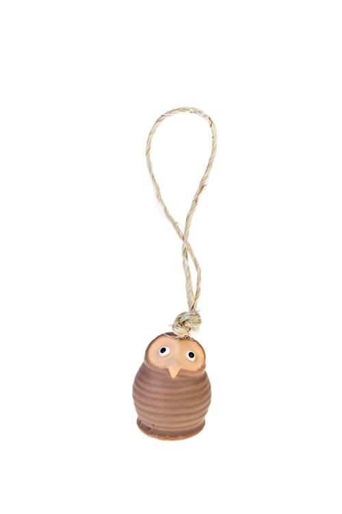 Колокольчик декоративный Милая совушкаЕлочные игрушки<br>Выс=5см, керам., подвесной (2 вида)<br>
