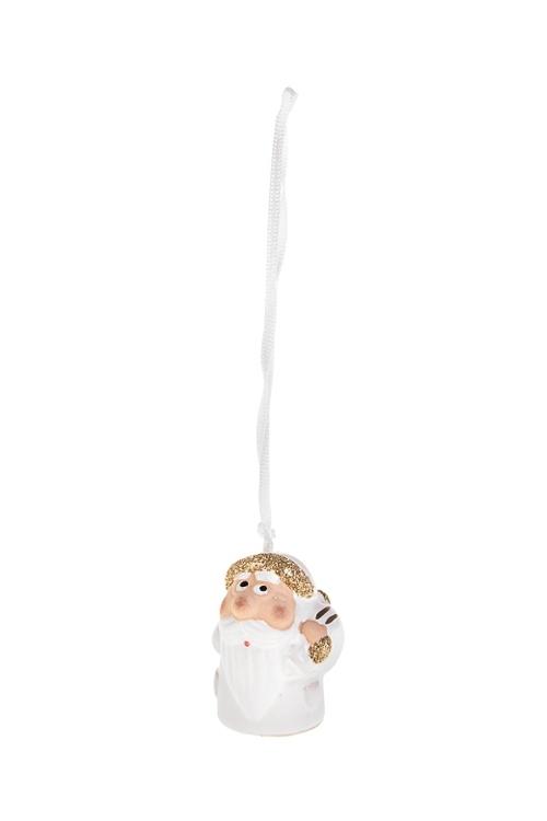 Колокольчик декоративный Дед МорозЕлочные игрушки<br>Выс=4см, керам., бело-золот., подвесной (3 вида)<br>