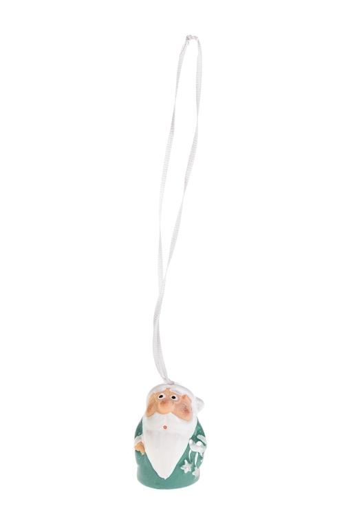 Колокольчик декоративный Дед МорозПодарки на Новый год 2018<br>Выс=4см, керам., бизюз.-белый, подвесной (3 вида)<br>