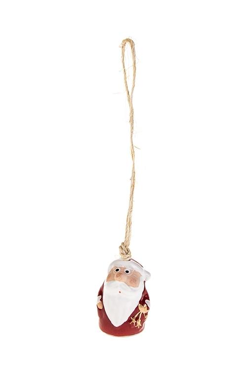 Колокольчик декоративный Дед МорозПодарки на Новый год 2018<br>Выс=4см, керам., красно-белый, подвесной (3 вида)<br>