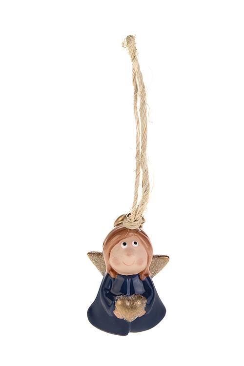 Колокольчик декоративный Милый ангелокДекоративные гирлянды и подвески<br>Выс=6.5см, керам., синий, голубой, подвесной (2 вида)<br>