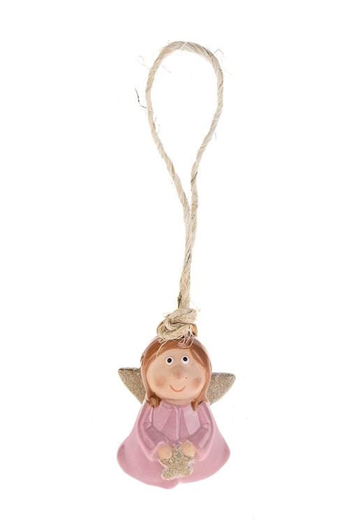 Колокольчик декоративный Милый ангелокДекоративные гирлянды и подвески<br>Выс=6.5см, керам., розово-золот., подвесной (2 вида)<br>