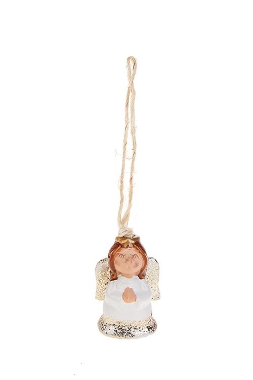 Колокольчик декоративный АнгелокСувениры и упаковка<br>Выс=6см, керам., бело-золот., подвесной<br>