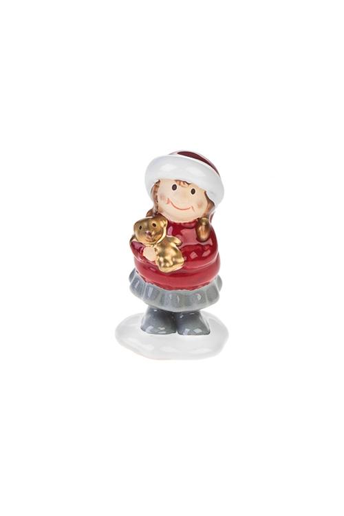 Фигурка Малышка с подаркомФигурки<br>Выс=8см, керам., красно-серая (2 вида)<br>